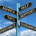 A sign post holding multiple signs with the words - Advice, Help, Tips, Support, Assistance, and Guidance.